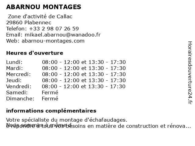ABARNOU MONTAGES à Plabennec: adresse et heures d'ouverture