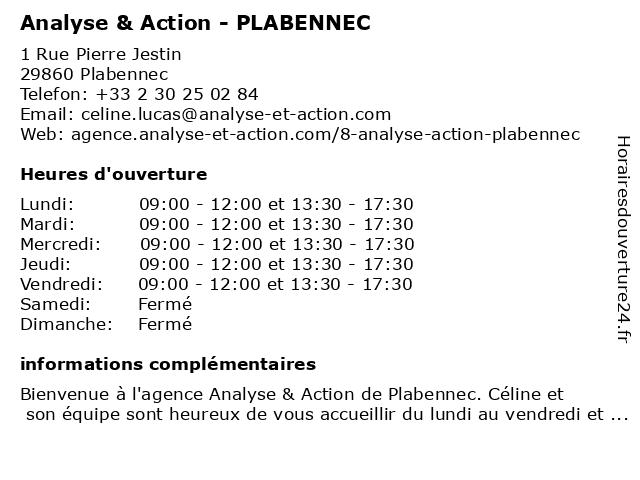 Analyse & Action - PLABENNEC à Plabennec: adresse et heures d'ouverture