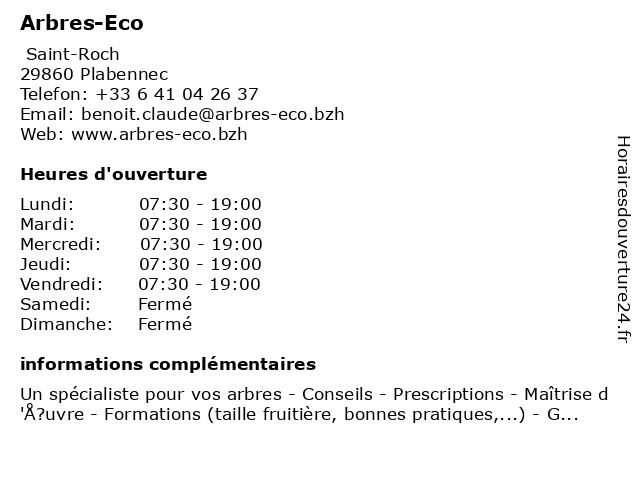 Arbres-Eco à Plabennec: adresse et heures d'ouverture