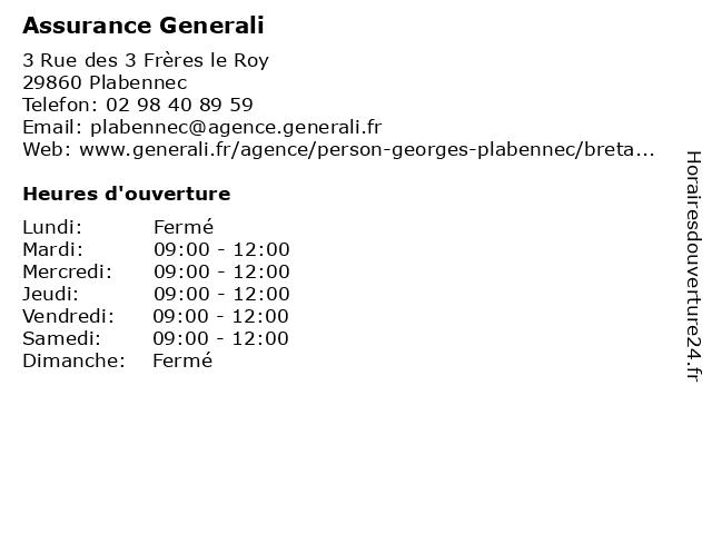 Assurance Generali à Plabennec: adresse et heures d'ouverture