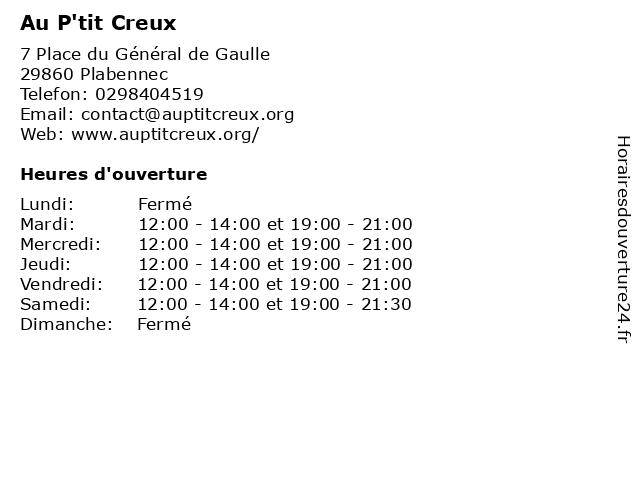 Au P'tit Creux à Plabennec: adresse et heures d'ouverture