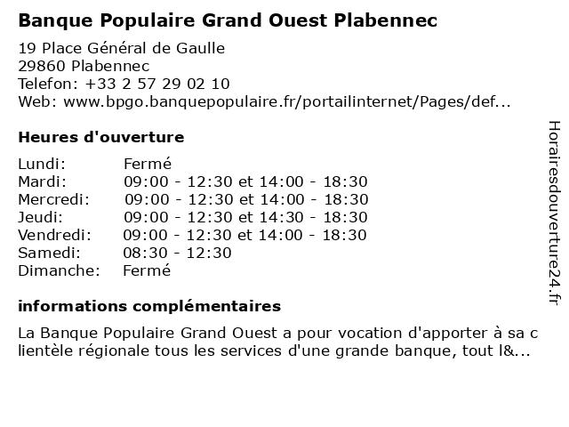 Banque Populaire Grand Ouest Plabennec à Plabennec: adresse et heures d'ouverture