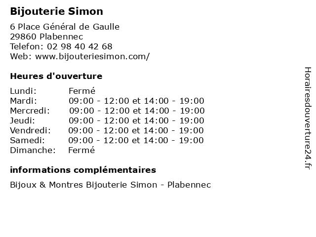 Bijouterie Simon à Plabennec: adresse et heures d'ouverture