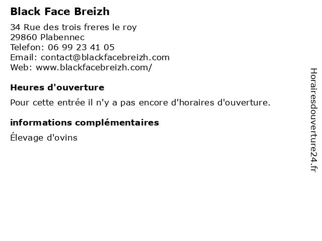 Black Face Breizh à Plabennec: adresse et heures d'ouverture
