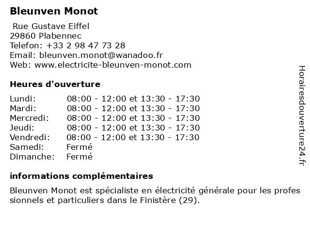 Bleunven Monot à Plabennec: adresse et heures d'ouverture