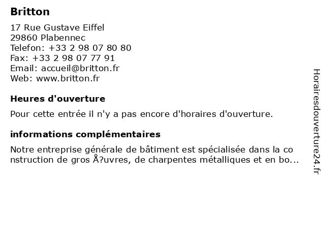 Britton à Plabennec: adresse et heures d'ouverture