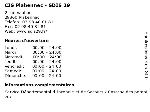 CIS Plabennec - SDIS 29 à Plabennec: adresse et heures d'ouverture