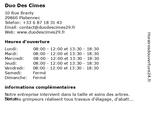 Duo Des Cimes à Plabennec: adresse et heures d'ouverture