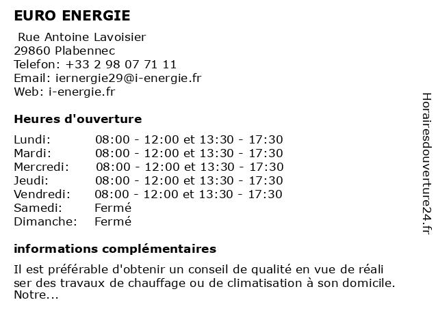 EURO ENERGIE à Plabennec: adresse et heures d'ouverture