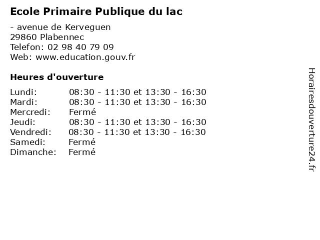 Ecole Primaire Publique du lac à Plabennec: adresse et heures d'ouverture