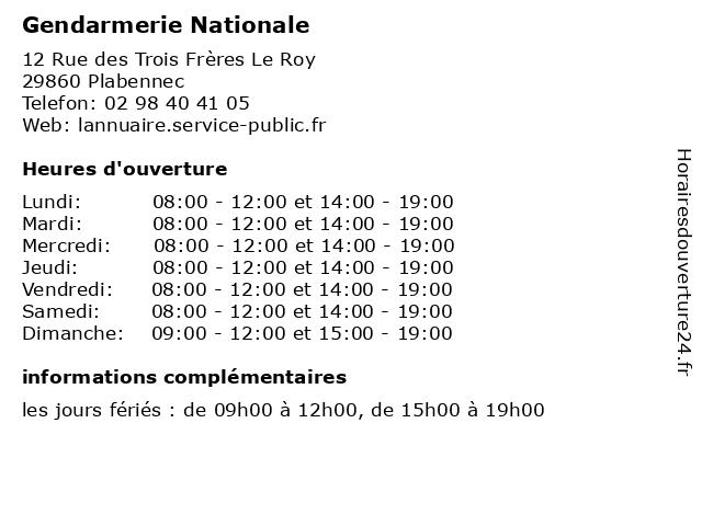 Gendarmerie Nationale à Plabennec: adresse et heures d'ouverture