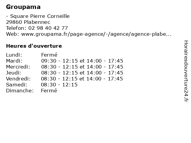Groupama à Plabennec: adresse et heures d'ouverture