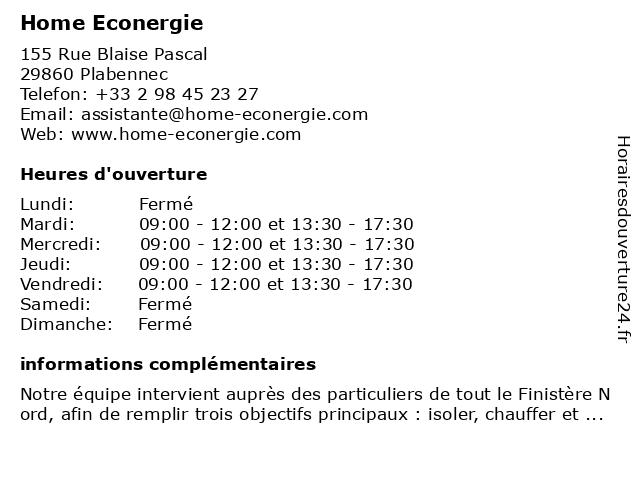 Home Econergie à Plabennec: adresse et heures d'ouverture
