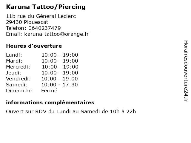 Karuna Tattoo/Piercing à Plabennec: adresse et heures d'ouverture