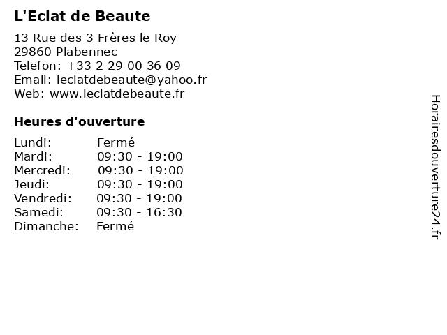 L'Eclat de Beaute à Plabennec: adresse et heures d'ouverture