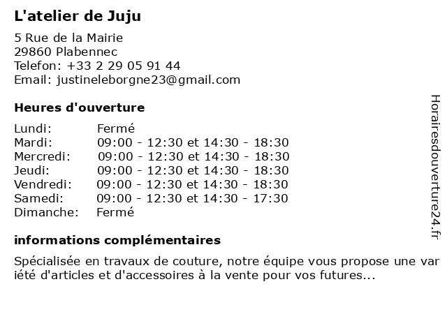 L'atelier de Juju à Plabennec: adresse et heures d'ouverture