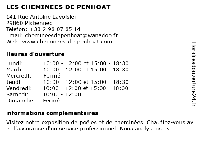LES CHEMINEES DE PENHOAT à Plabennec: adresse et heures d'ouverture