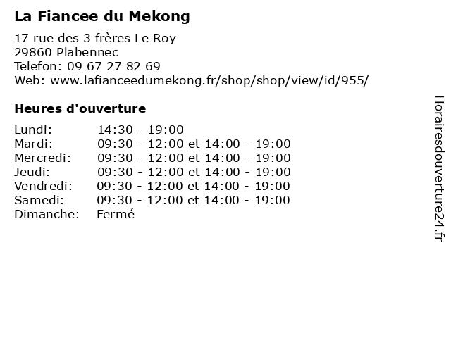 La Fiancee du Mekong à Plabennec: adresse et heures d'ouverture