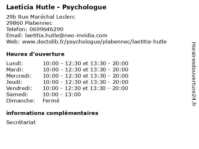 Laeticia Hutle - Psychologue à Plabennec: adresse et heures d'ouverture