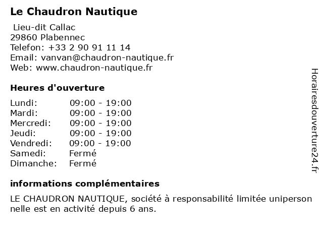 Le Chaudron Nautique à Plabennec: adresse et heures d'ouverture