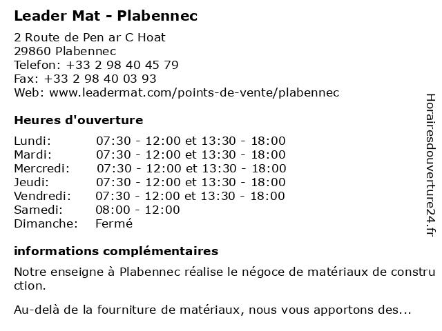 Leader Mat - Plabennec à Plabennec: adresse et heures d'ouverture