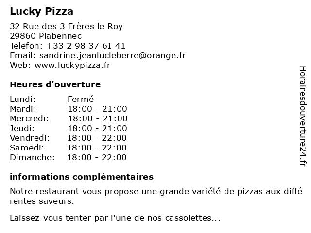 Lucky Pizza à Plabennec: adresse et heures d'ouverture