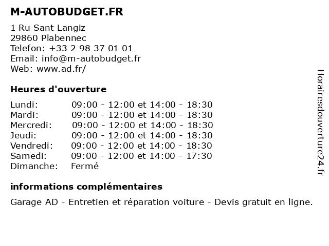 M-AUTOBUDGET.FR à Plabennec: adresse et heures d'ouverture