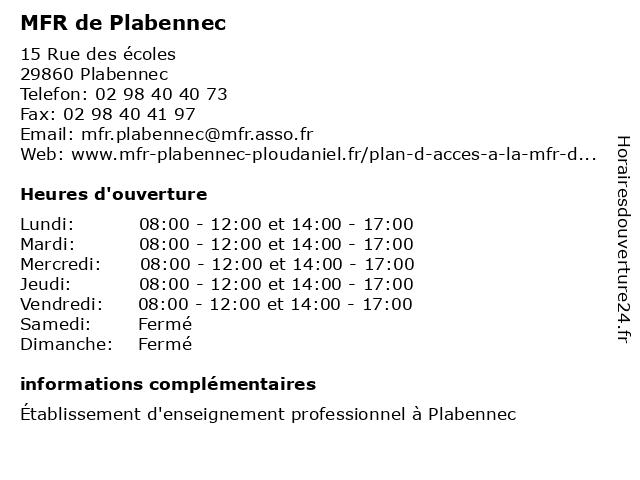 MFR de Plabennec à Plabennec: adresse et heures d'ouverture