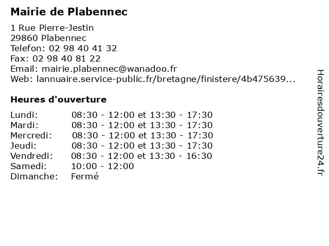 Mairie de Plabennec à Plabennec: adresse et heures d'ouverture