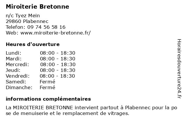 Miroiterie Bretonne à Plabennec: adresse et heures d'ouverture