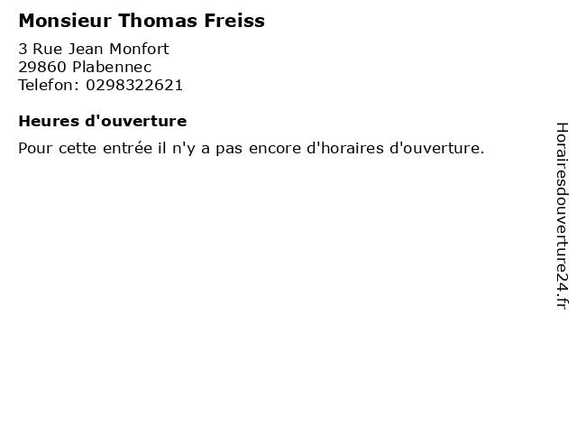 Monsieur Thomas Freiss à Plabennec: adresse et heures d'ouverture