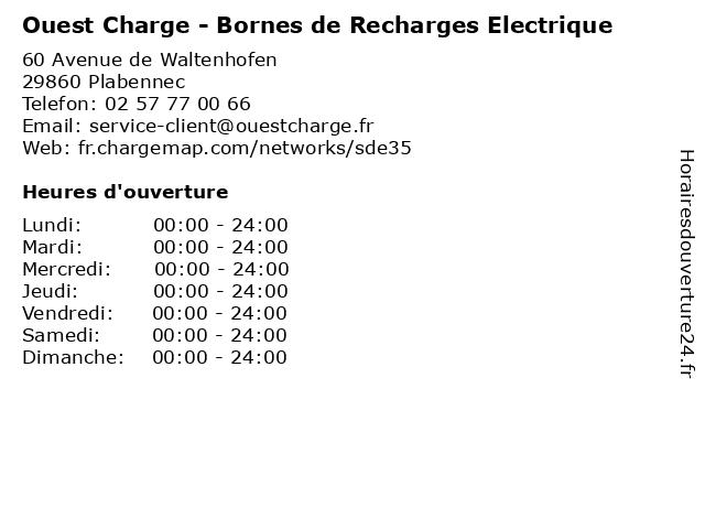 Ouest Charge - Bornes de Recharges Electrique à Plabennec: adresse et heures d'ouverture