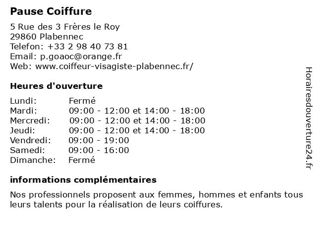 Pause Coiffure à Plabennec: adresse et heures d'ouverture