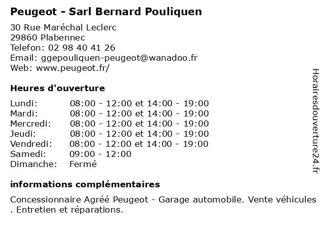 Peugeot - Sarl Bernard Pouliquen à Plabennec: adresse et heures d'ouverture