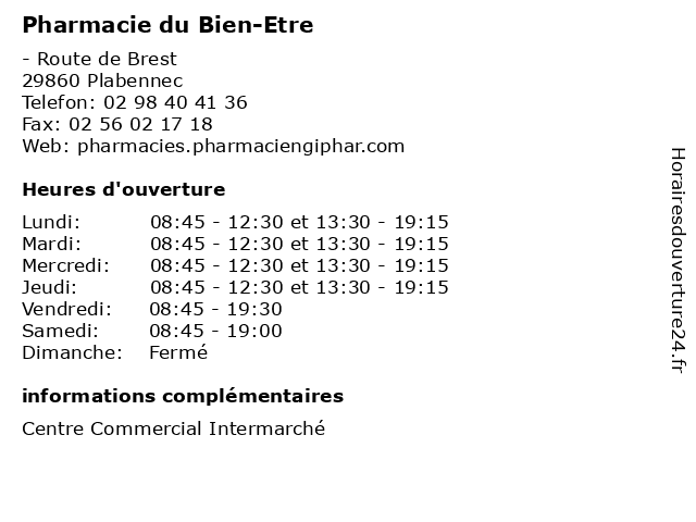 Pharmacie du Bien-Etre à Plabennec: adresse et heures d'ouverture