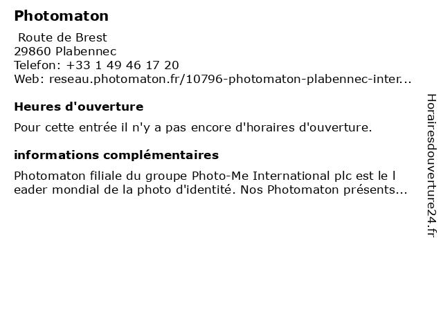 Photomaton à Plabennec: adresse et heures d'ouverture
