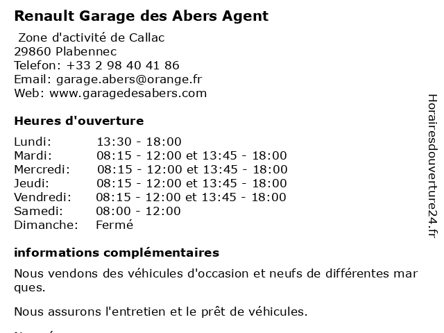 Renault Garage des Abers Agent à Plabennec: adresse et heures d'ouverture
