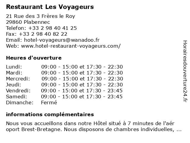 Restaurant Les Voyageurs à Plabennec: adresse et heures d'ouverture