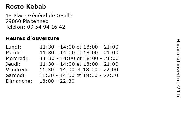 Resto Kebab à Plabennec: adresse et heures d'ouverture