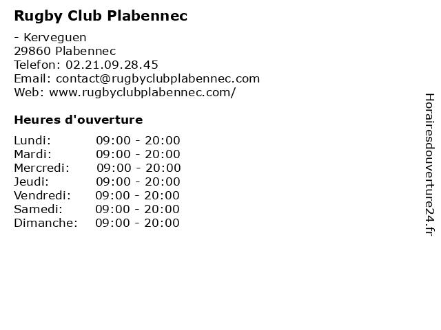 Rugby Club Plabennec à Plabennec: adresse et heures d'ouverture
