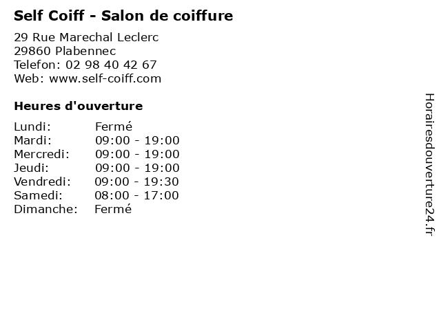 Self Coiff - Salon de coiffure à Plabennec: adresse et heures d'ouverture