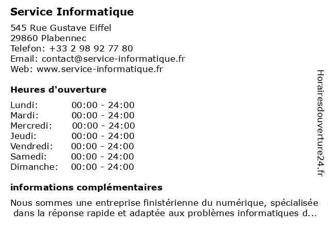 Service Informatique à Plabennec: adresse et heures d'ouverture