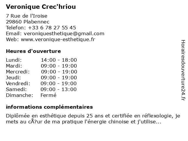 Veronique Crec'hriou à Plabennec: adresse et heures d'ouverture
