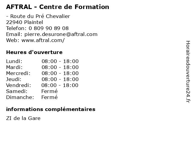 AFTRAL - Centre de Formation à Plaintel: adresse et heures d'ouverture