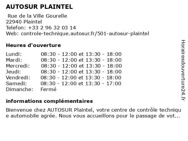 AUTOSUR PLAINTEL à Plaintel: adresse et heures d'ouverture