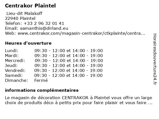 Centrakor Plaintel à Plaintel: adresse et heures d'ouverture