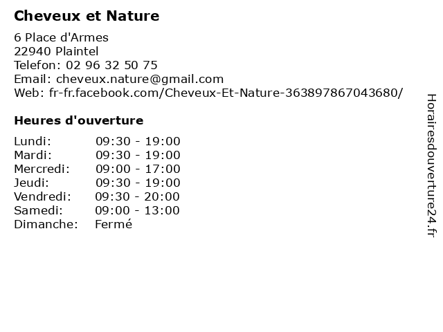 Cheveux et Nature à Plaintel: adresse et heures d'ouverture