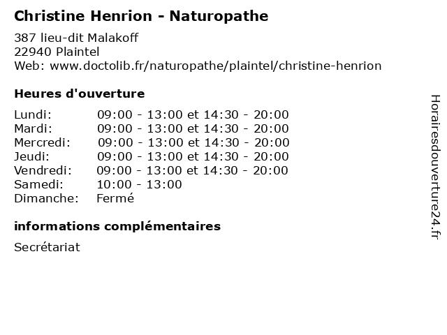 Christine Henrion - Naturopathe à Plaintel: adresse et heures d'ouverture