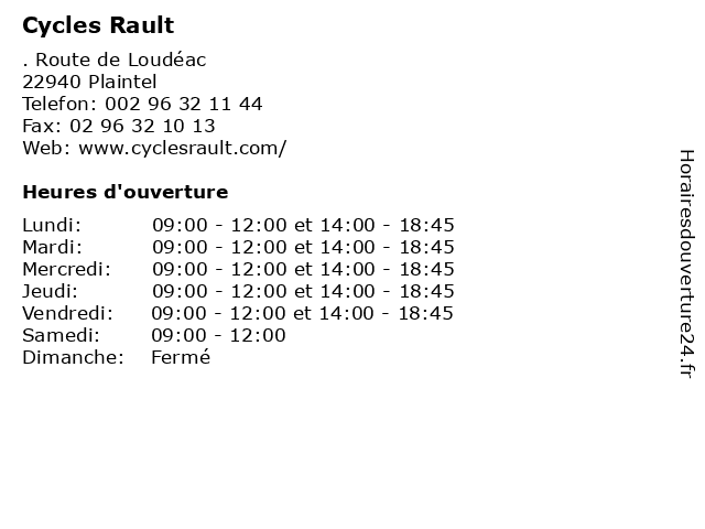 Cycles Rault à Plaintel: adresse et heures d'ouverture