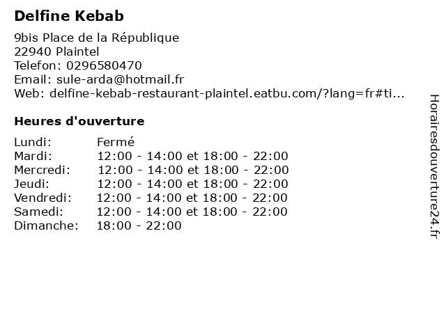 Delfine Kebab à Plaintel: adresse et heures d'ouverture